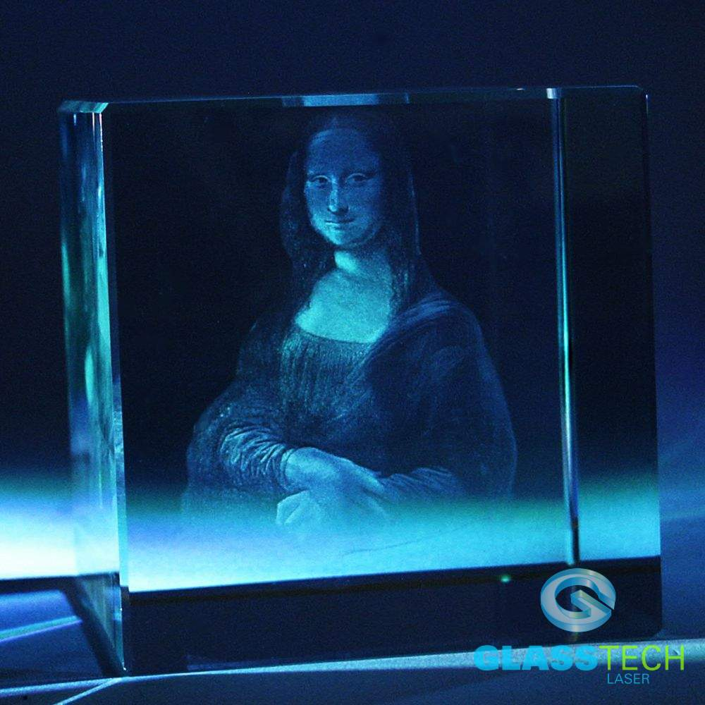 Portrait of Mona Lisa in cube