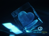 3D heart in glass cube 100 mm with the flat