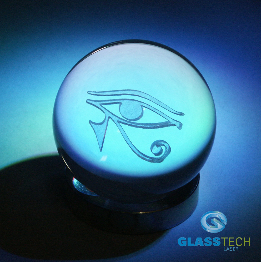 3D Eye of horus in glass ball 80 mm