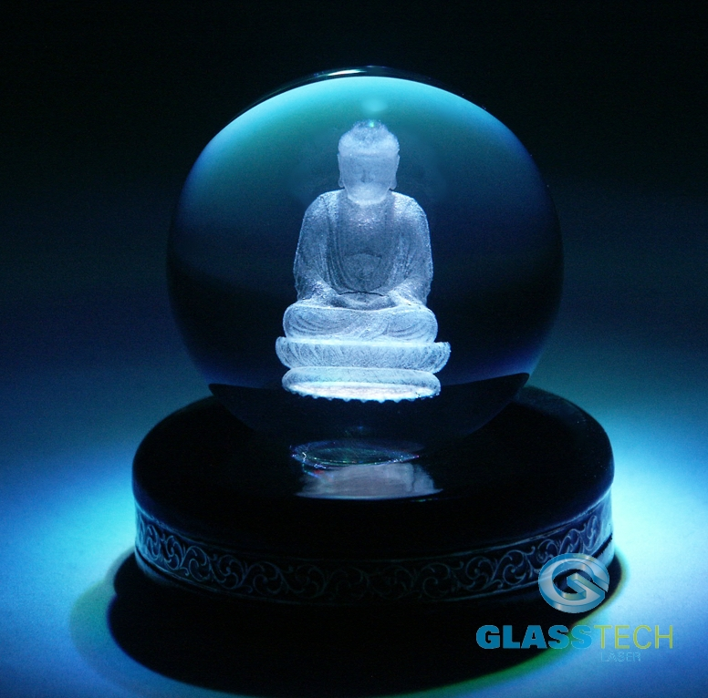 3D Budha in glass ball 80 mm