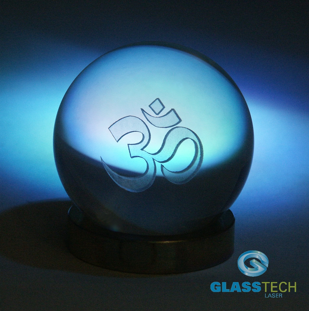 3D Om in glass ball 80 mm