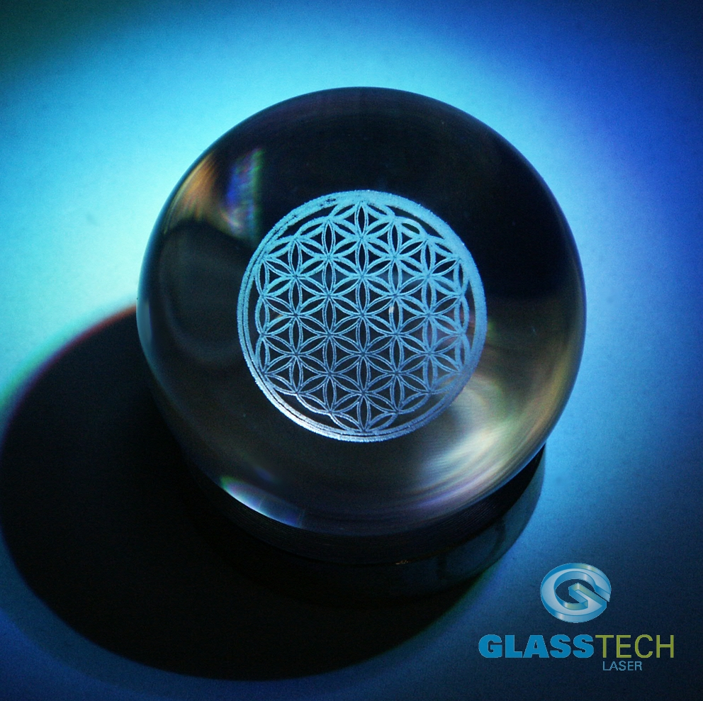 3D Flower of life in glass ball 100 mm