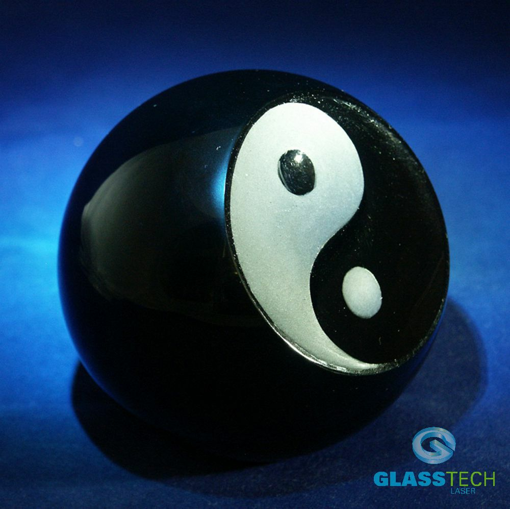 Paperweight Jin-Jang 80 mm, black, hand made curved