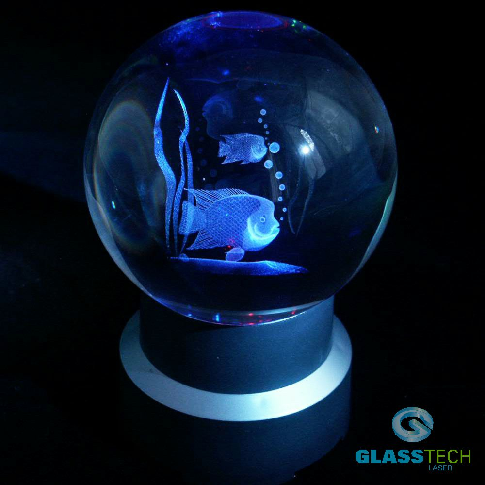 3D Fishes in glass ball 80 mm