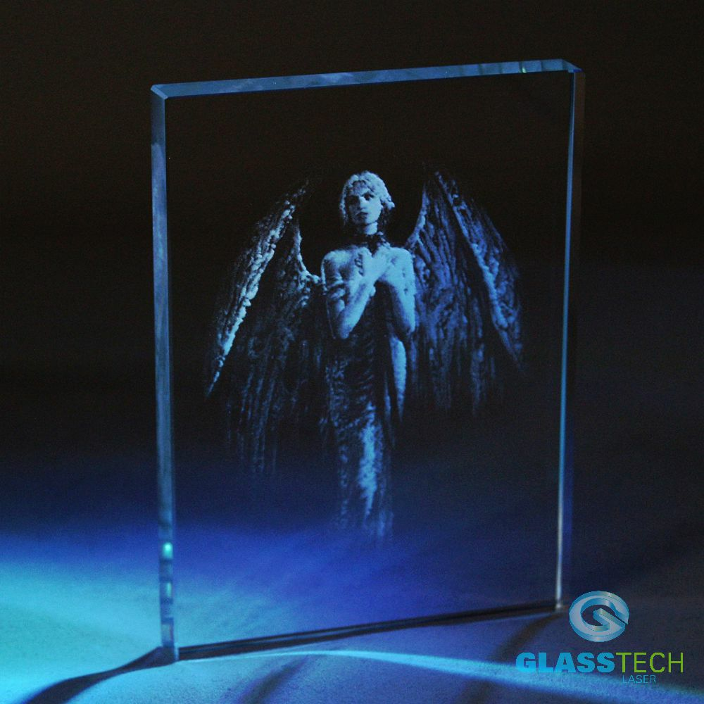 Angel engraved in glass plaque