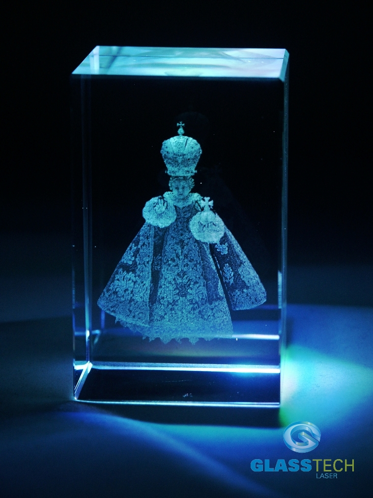 3D The Infant Jesus of Prague -glass block 50x50x80 mm