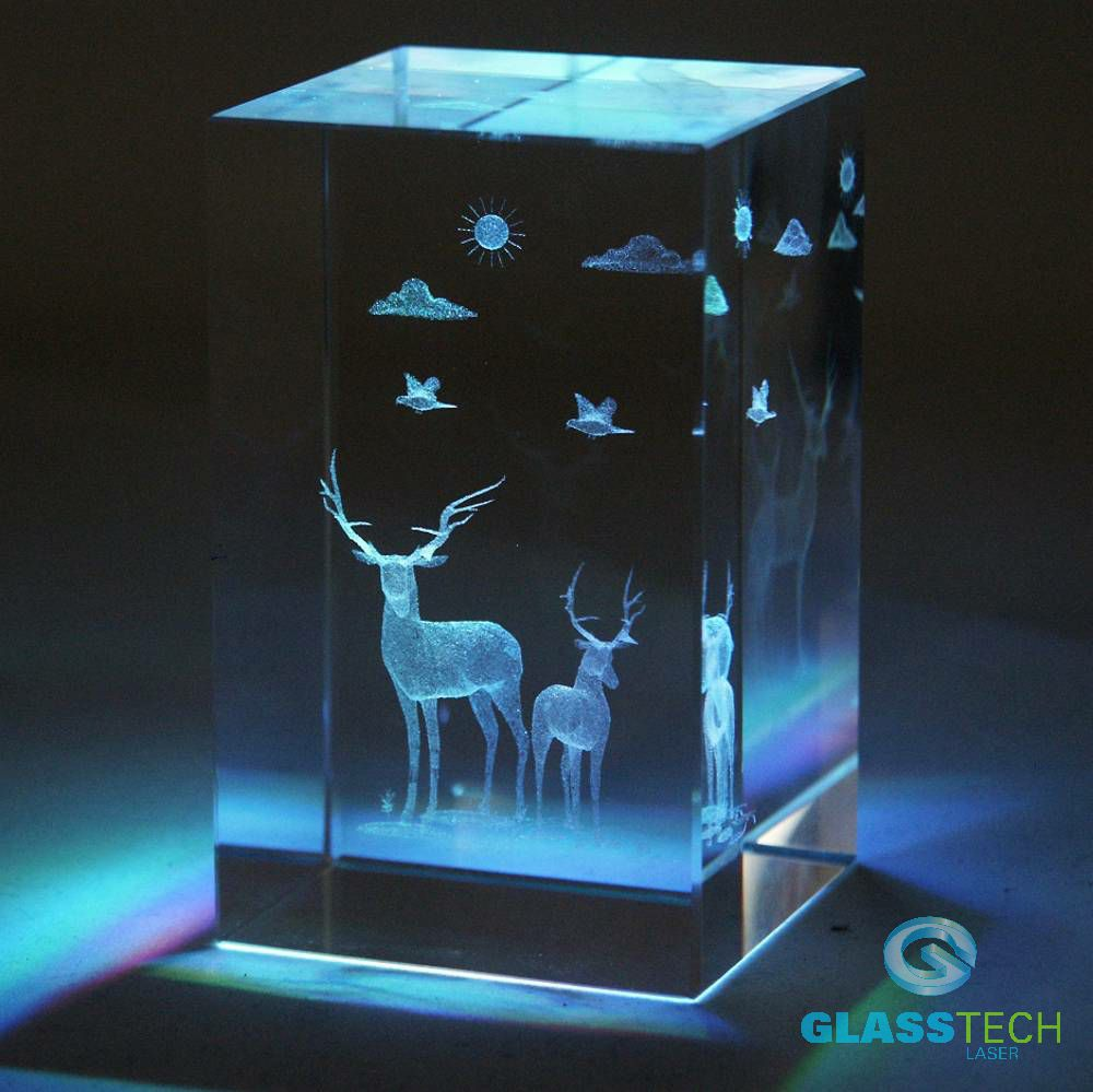 3D deer-glass block 50 x 50 x 80 mm