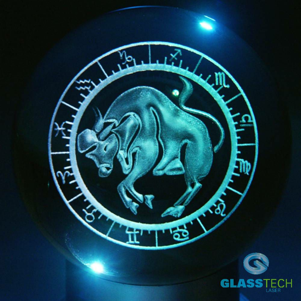 3D sign TAURUS - glass ball 100 mm
