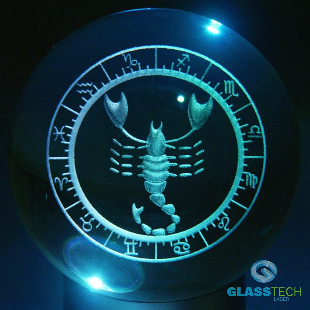 3D sign SCORPIO - glass ball 100 mm