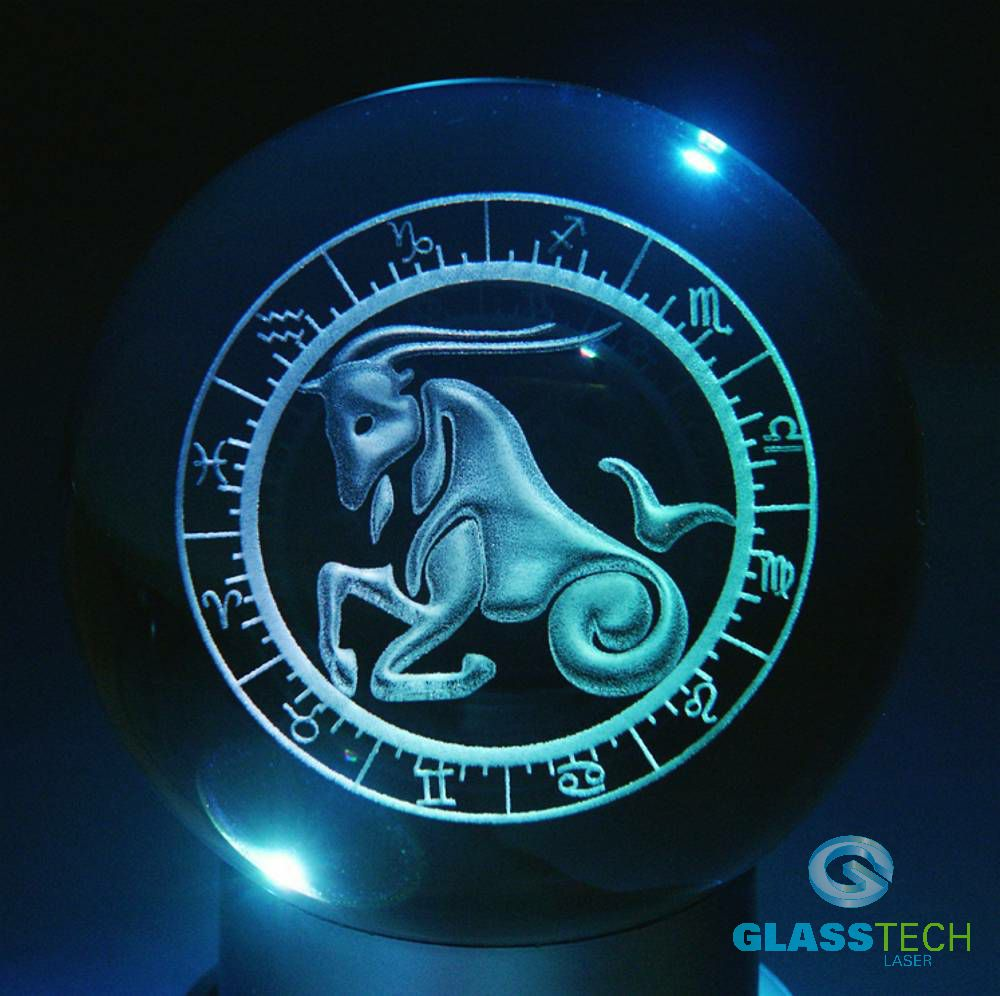 3D sign CAPRICORN - glass ball 100 mm