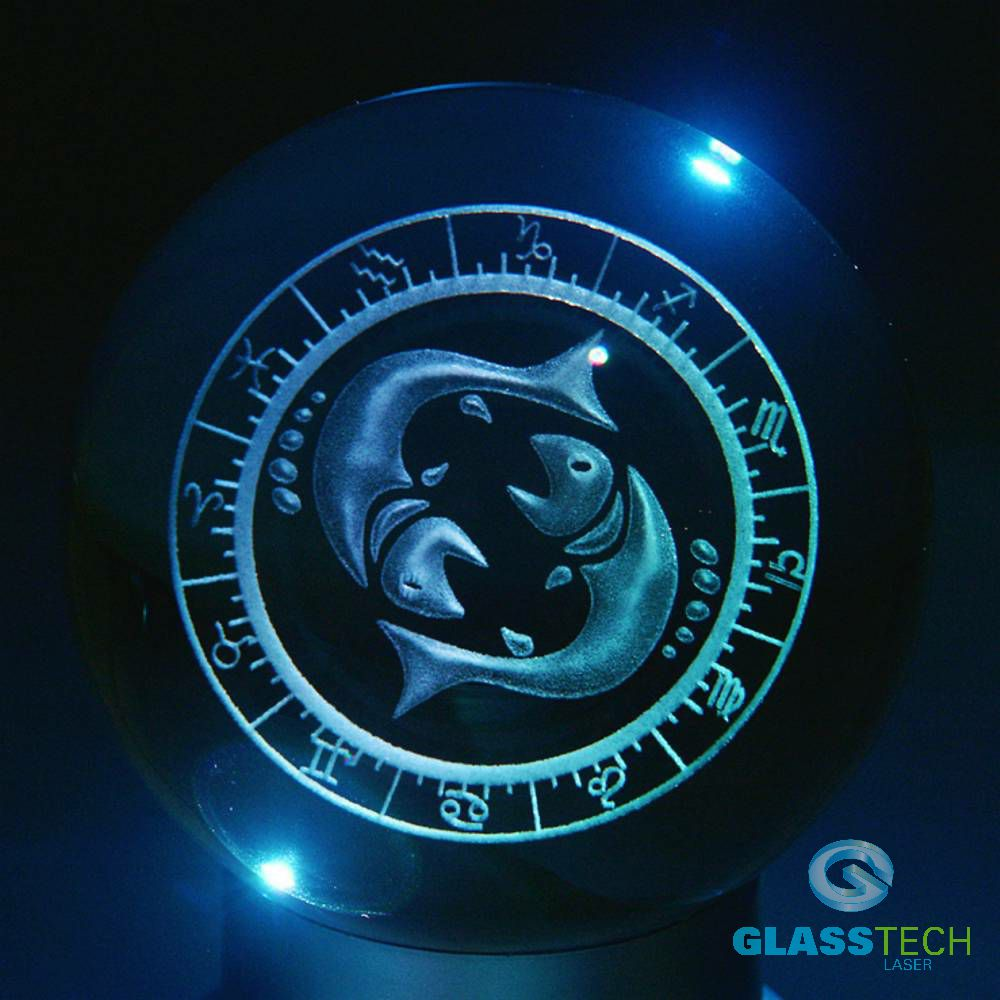 3D sign PISCES - glass ball 100 mm