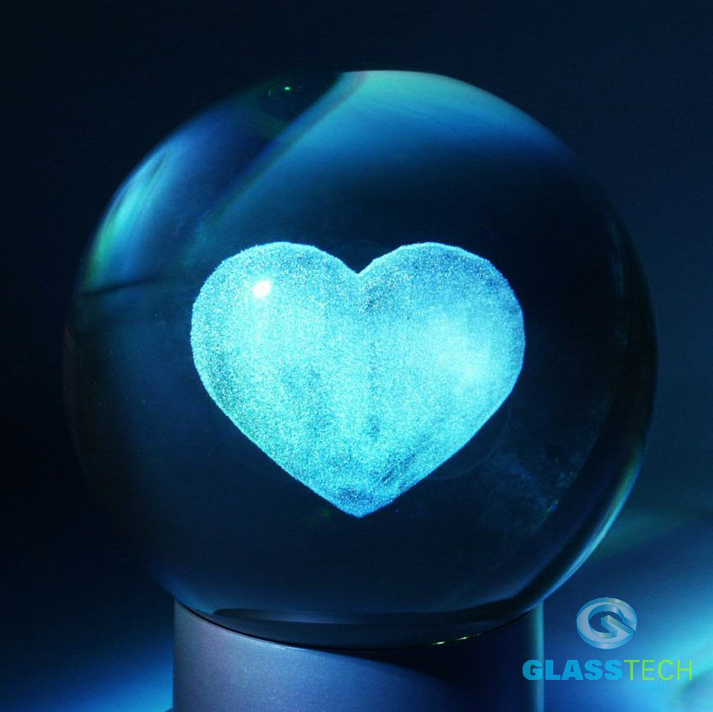 3D heart-glass ball 80 mm