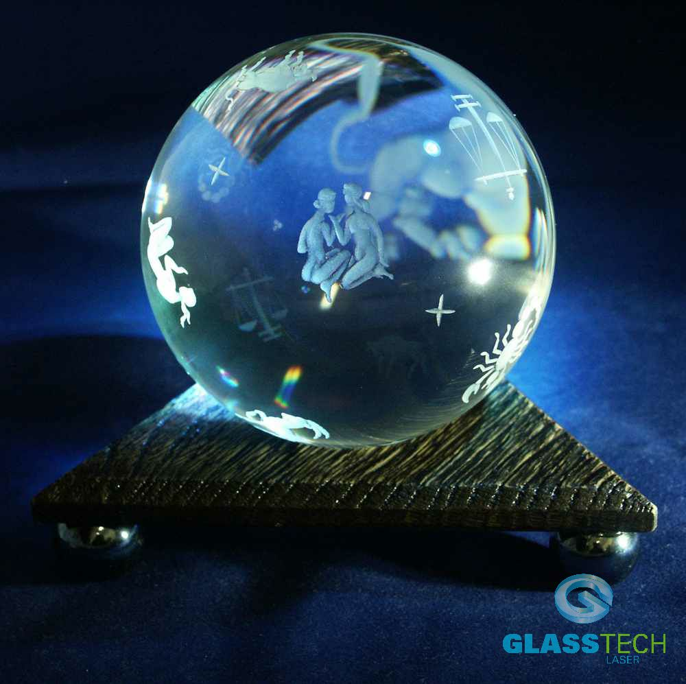 Crystal ball Zodiac,100 mm with triangular stand