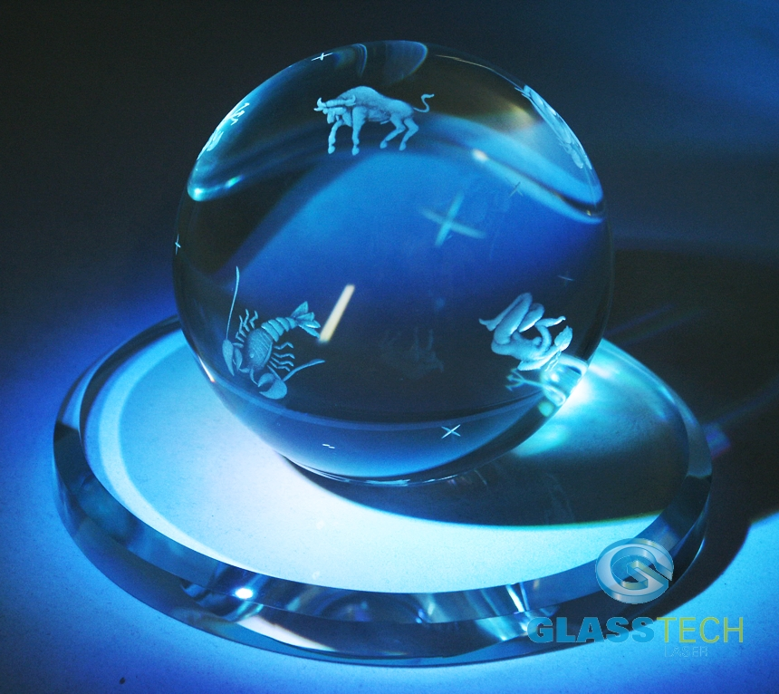 Crystal ball zodiac, 100 mm with the glass stand 150 mm