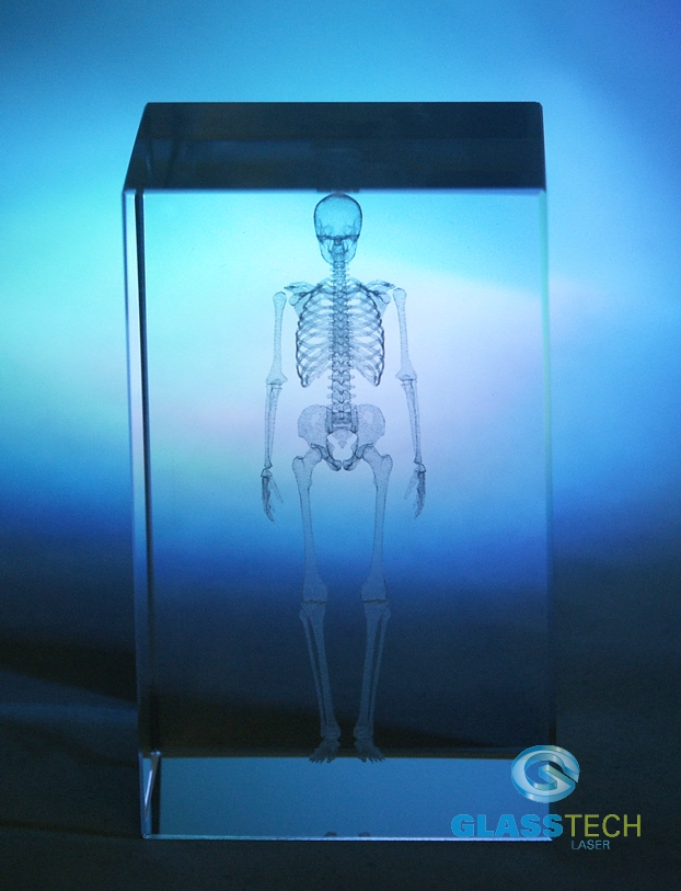 3D SKELETON - glass cube 50x50x80 mm