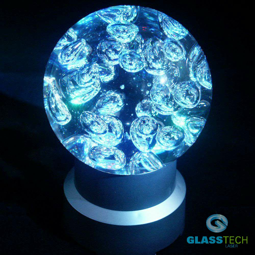 Glass sphere 100 mm with bubbles+LED stand FREE of charge