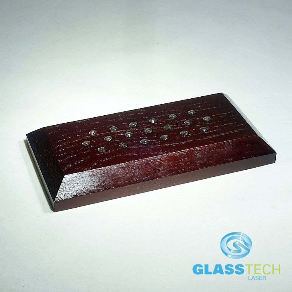 LED stand wood 180x90x20 mm, braun, for plaques and prisms
