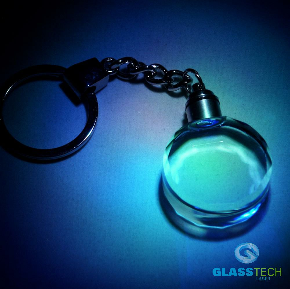 LED key ring - glass ellipse with facets