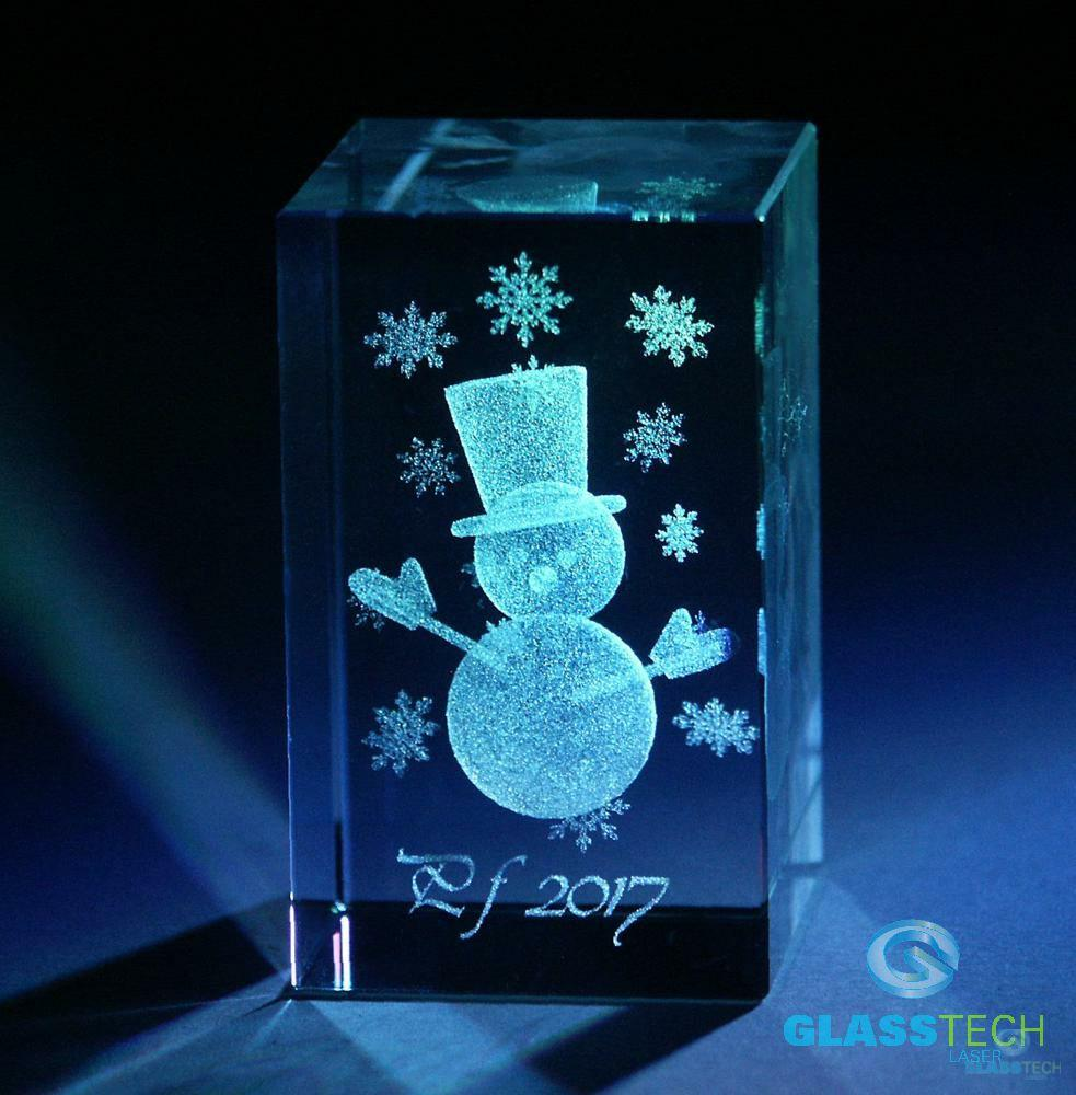 3D Snowmann - glass block 30X30X50 MM