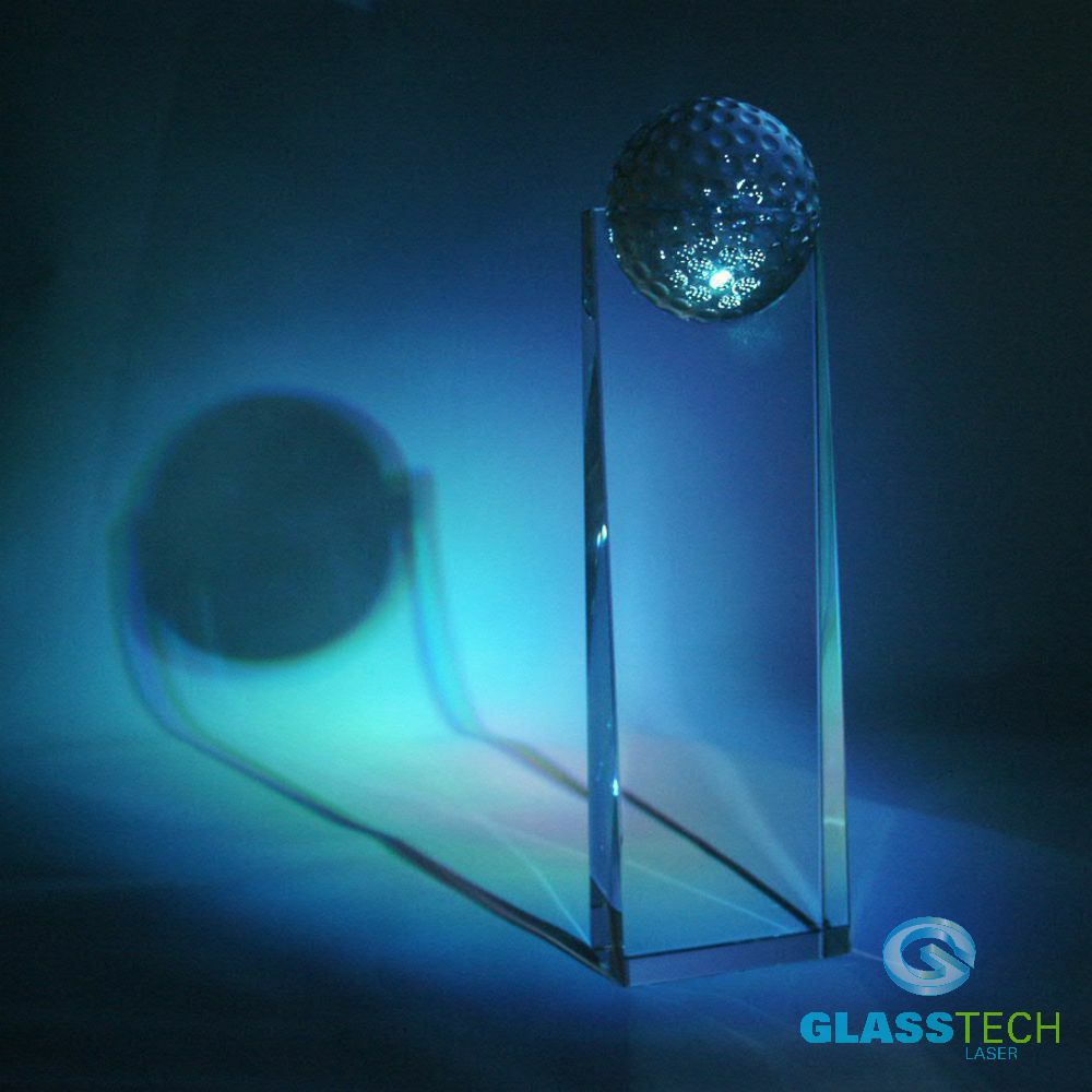 glass golf trophy