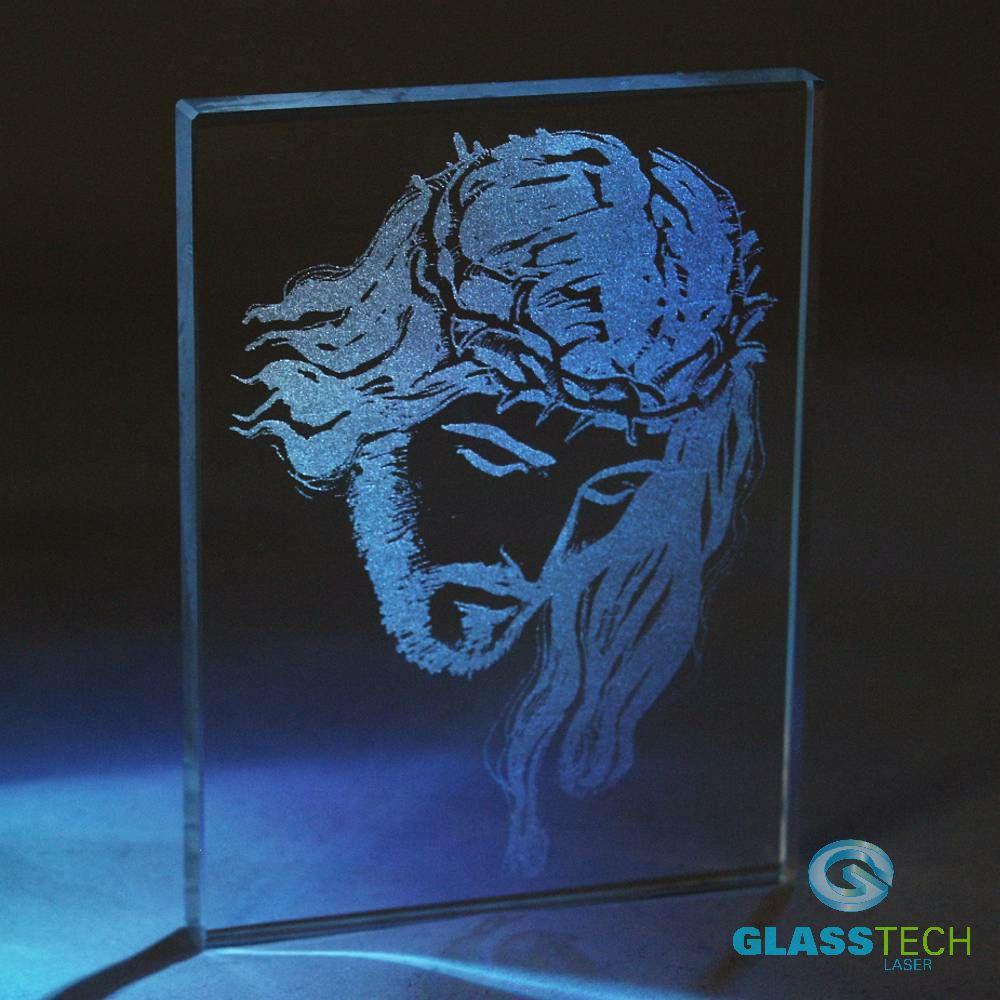 Jesus engraved in glass plaque