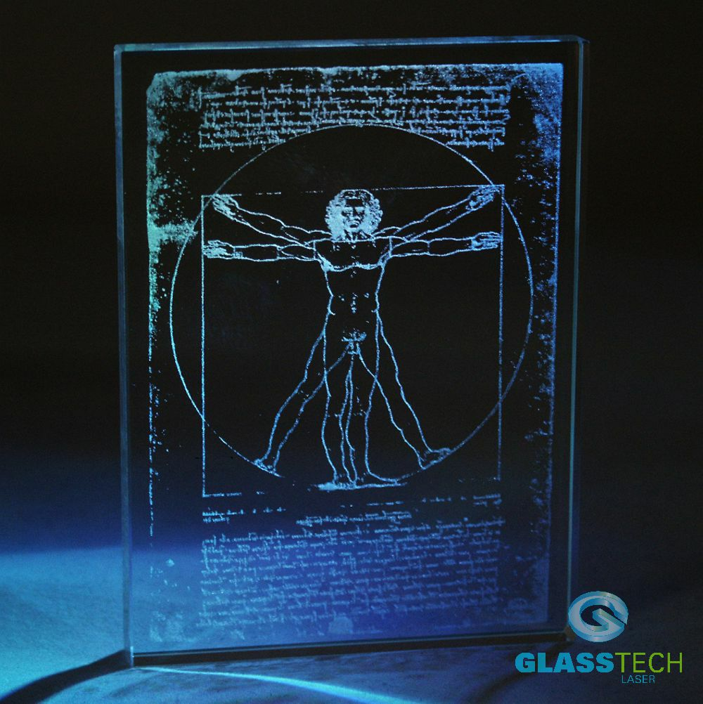 Vitruvian  engraved in glass plaque