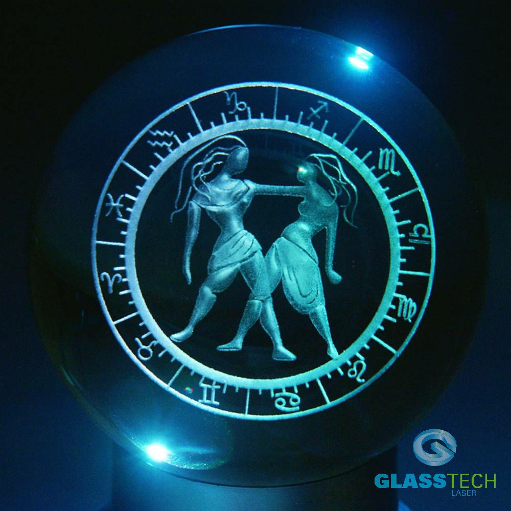 3D sign GEMINI - glass ball 100 mm