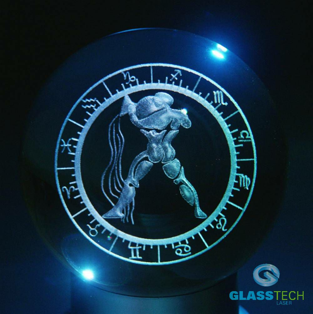 3D sign AQUARIUS - glass ball 100 mm