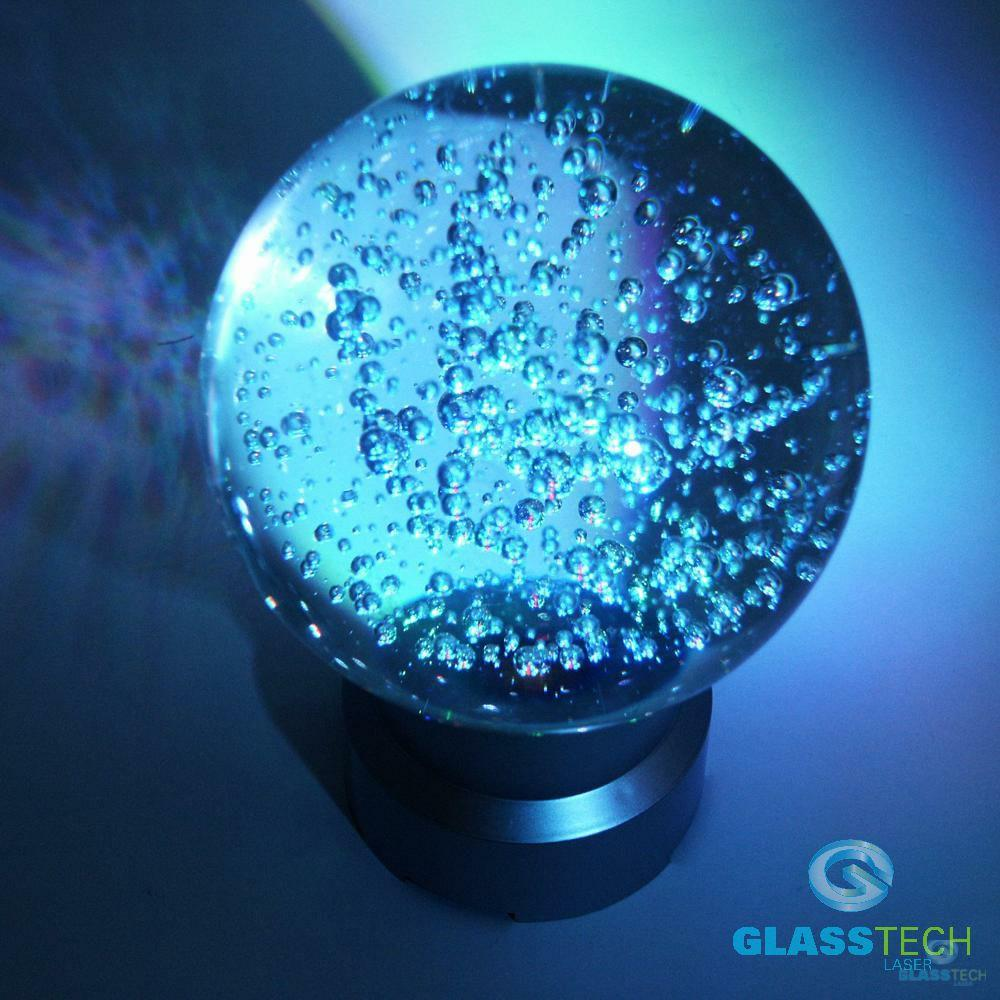 Glass sphere 100 mm with small bubbles+LED stand FREE of charge