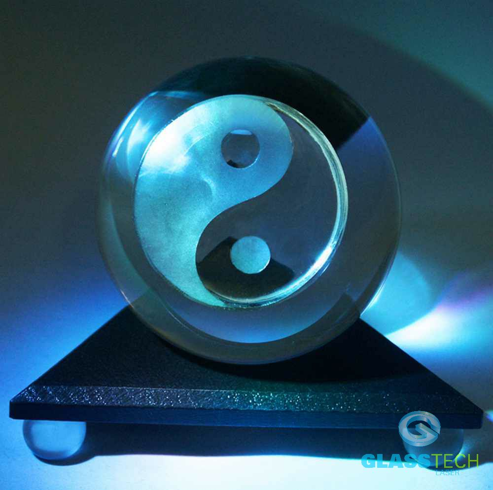 Crystal ball Jin-Jang,100 mm with triangular stand