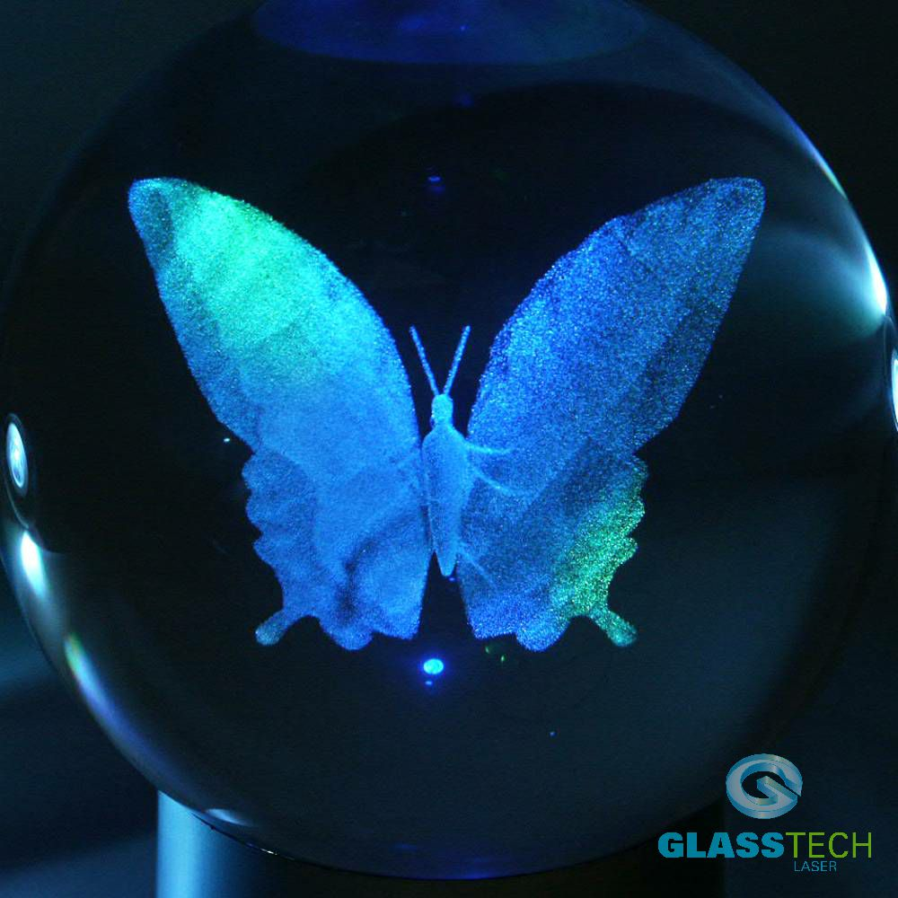 3D butterfly in glass ball 100 mm