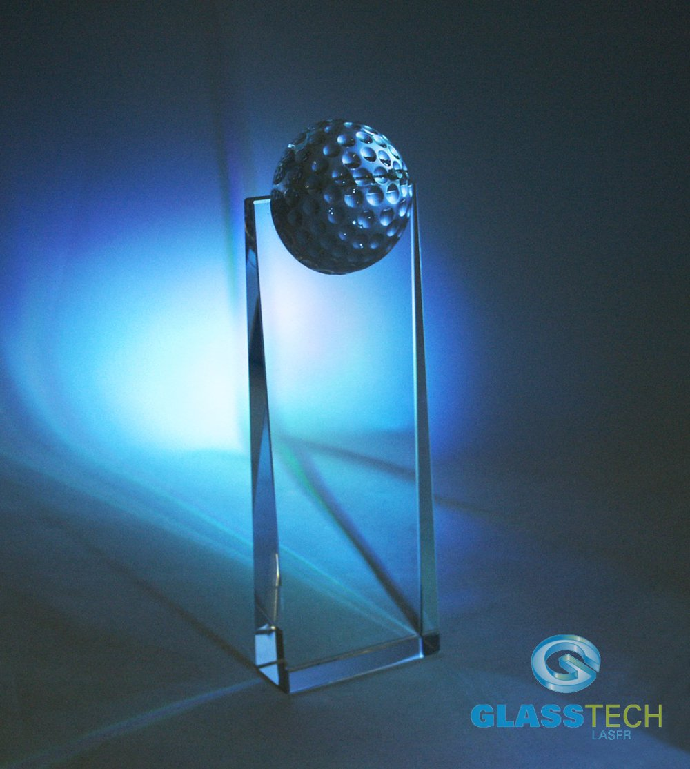 glass golf trophy S
